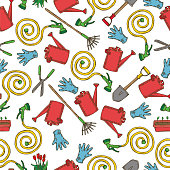Seamless Pattern with Garden Tools on White Background