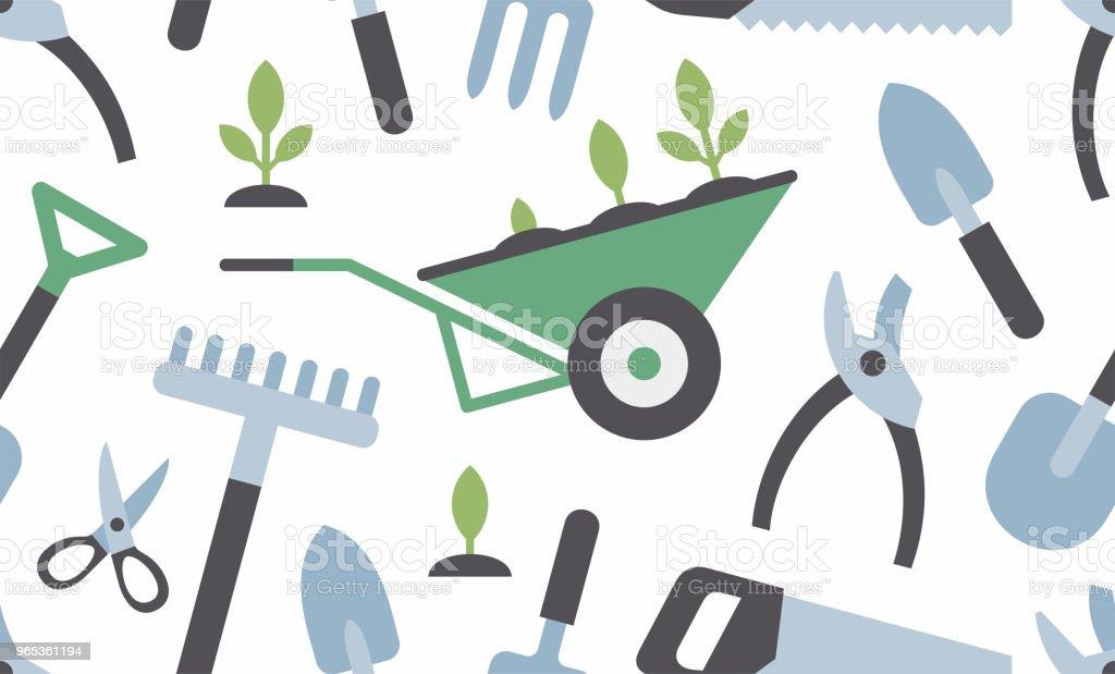與園藝儀器無縫模式 - 免版稅可愛圖庫向量圖形