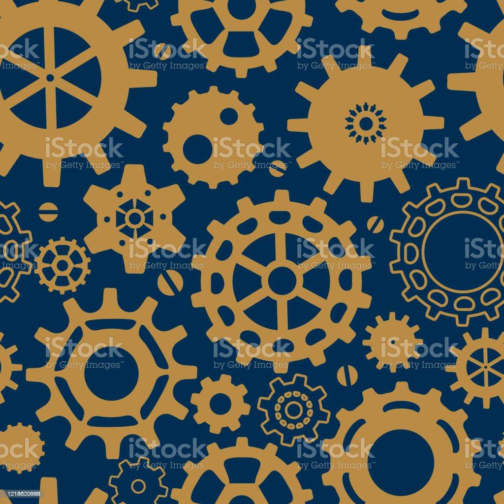 スチームパンクスタイルのギアとシームレスなパターン壁紙はがきの背景とよりのための青の背景にヴィンテージスチームパンク運動ベクトル くるくる回るのベクターアート素材や画像を多数ご用意 Istock