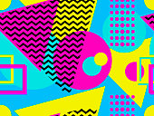 Seamless pattern with geometric elements in the style of 80s. Points and dotted lines. Vector illustration