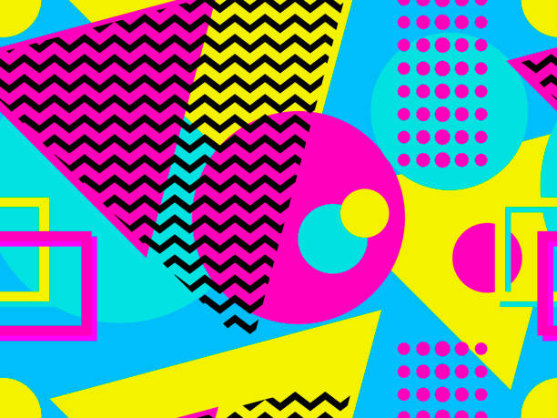 seamless pattern with geometric elements in the style of 80s. points and dotted lines. vector illustration - szałowy stock illustrations