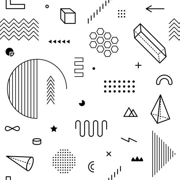 Seamless pattern with geometric graphic elements. Geometrical shapes backdrop for abstract vector background design in trendy simple geometric style. Black and white color vector art illustration