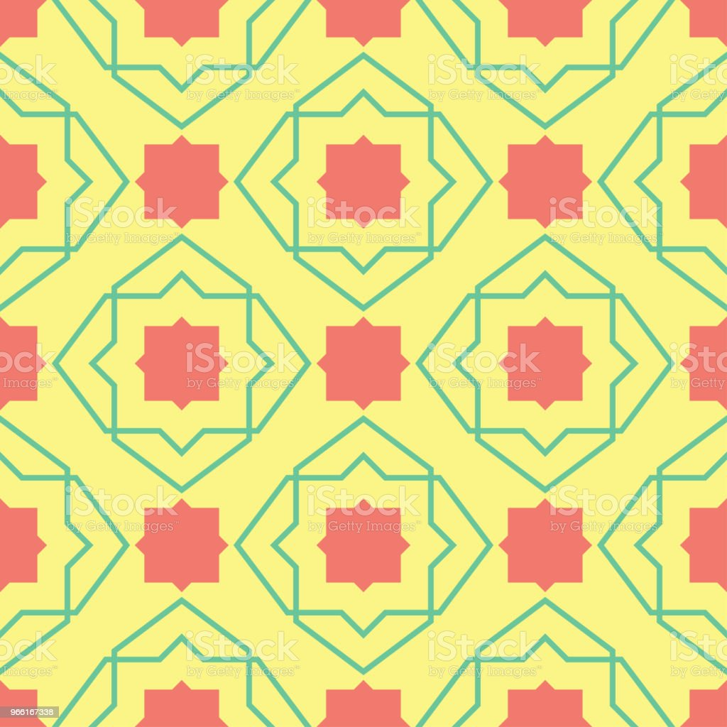 Seamless pattern with geometric green and pink elements. Yellow multi colored background - Векторная графика Абстрактный роялти-фри