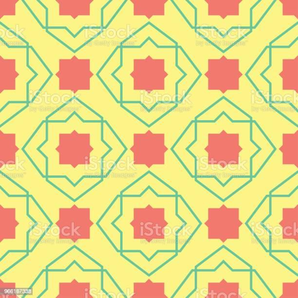 Seamless Mönster Med Geometriska Gröna Och Rosa Element Gul Multi Färgade Bakgrunden-vektorgrafik och fler bilder på Abstrakt
