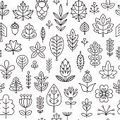 Seamless pattern with Geometrical leaves, trees and flowers.