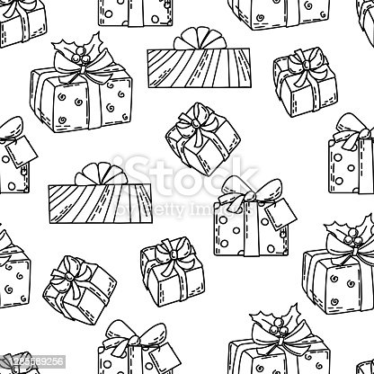 Seamless pattern with gift boxes in the style of outline. Coloring Book. Background.