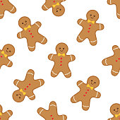 Seamless pattern with gingerbread man on white background. Vector illustration