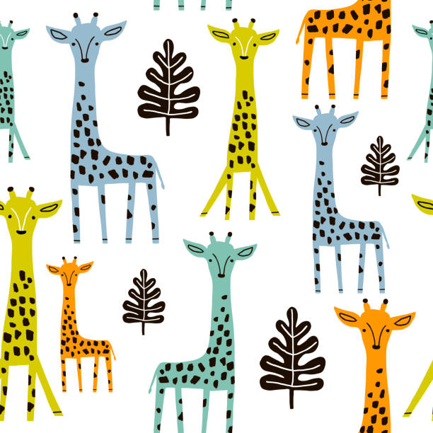 Seamless pattern with giraffe, palm branch and tropical background. Creative jungle childish texture. Great for fabric, textile Vector Illustration Seamless pattern with giraffe, palm branch and tropical background. Creative jungle childish texture. Great for fabric, textile Vector Illustration animal markings stock illustrations
