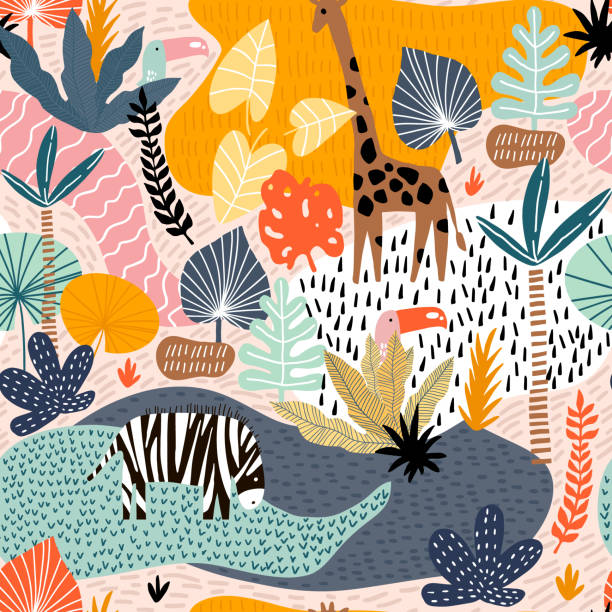 Seamless pattern with giraffe, zebra,tucan, and tropical landscape. Creative jungle childish texture. Great for fabric, textile Vector Illustration Seamless pattern with giraffe, zebra,tucan, and tropical landscape. Creative jungle childish texture. Great for fabric, textile Vector Illustration animal markings stock illustrations