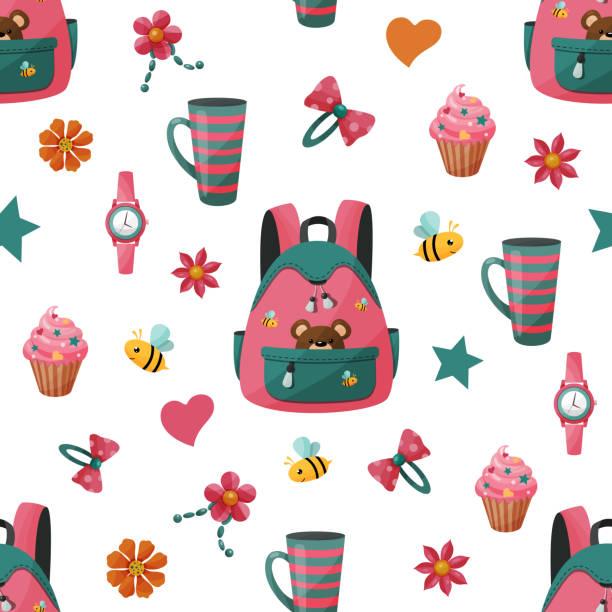 nahtloses muster mit mädchen rucksack und kuchen. - schulbedarfskuchen stock-grafiken, -clipart, -cartoons und -symbole