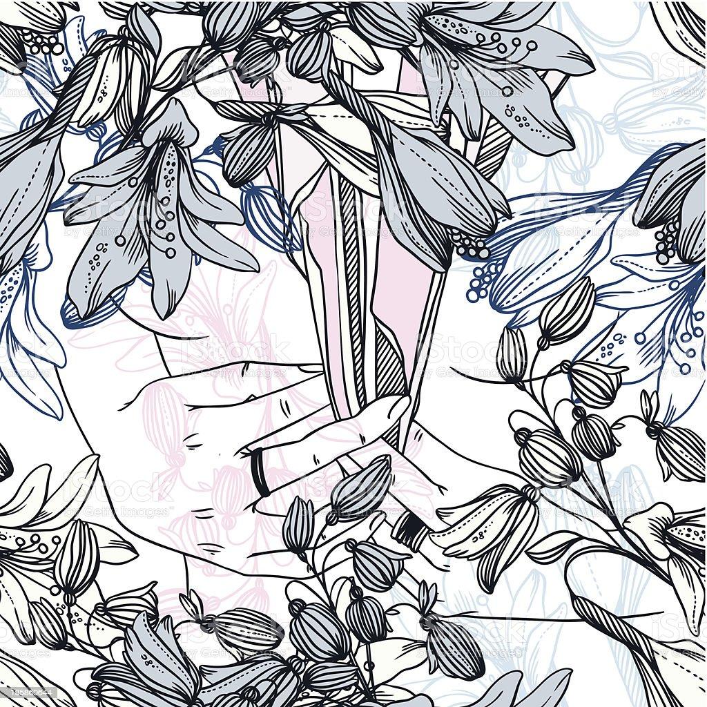 Ilustración de Patrón Sin Costuras Con Las Niñas Manos Cuello ...