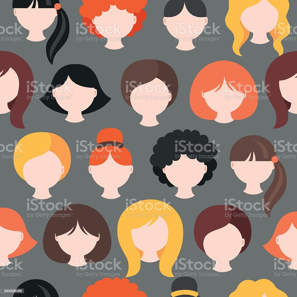 Seamless pattern with girl's heads. Short, medium, long hair vector art illustration