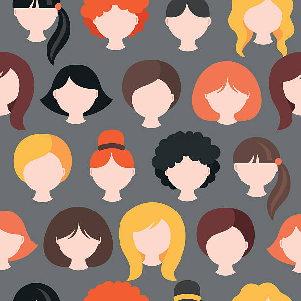 stockillustraties, clipart, cartoons en iconen met seamless pattern with girl's heads. short, medium, long hair - blond curly hair