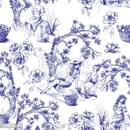 istock Seamless pattern with girls in toile de jouy style 1246291968