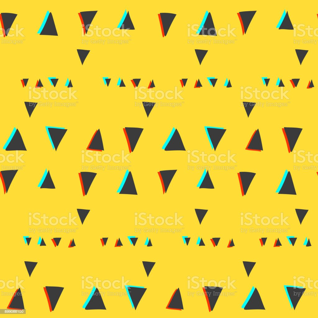 Seamless pattern with glitch triangles on yellow vector art illustration