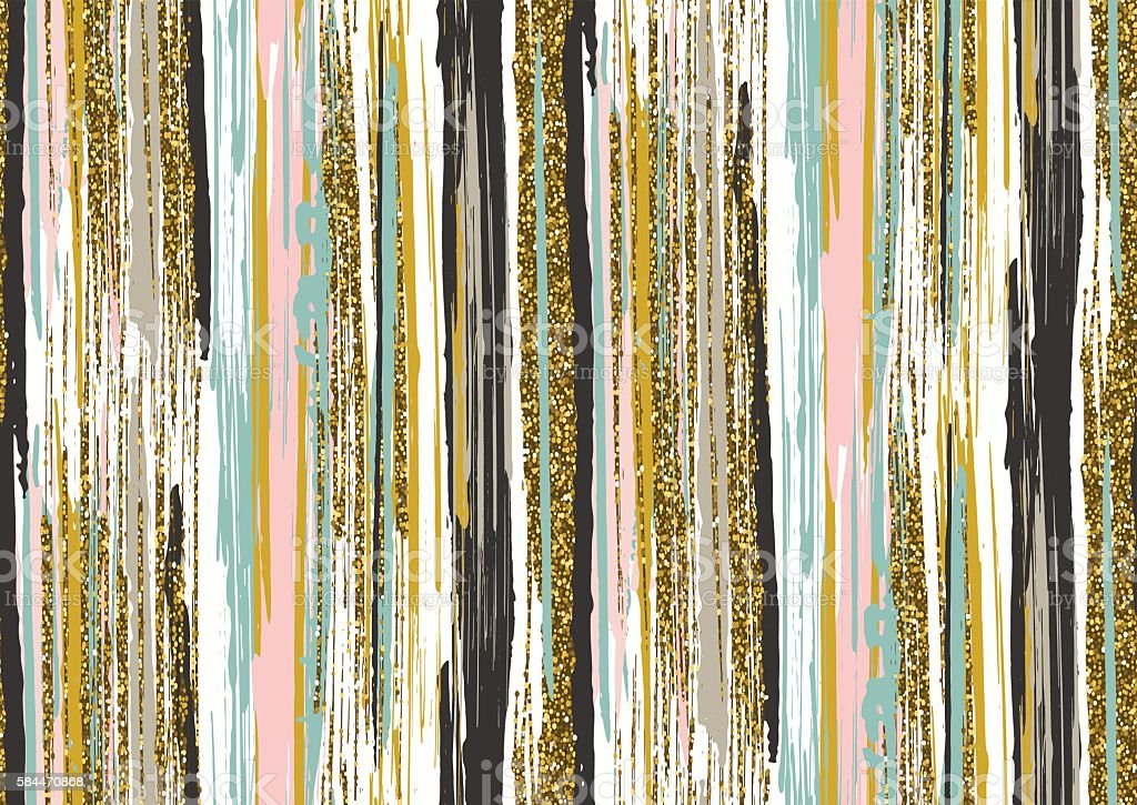 seamless pattern with gold glitter textured brush strokes and stripes - Vetor de Abstrato royalty-free