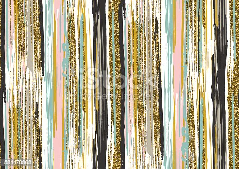 Vector seamless pattern with hand drawn gold glitter textured brush strokes and stripes hand painted. Black, gold, pink, green, white colors.