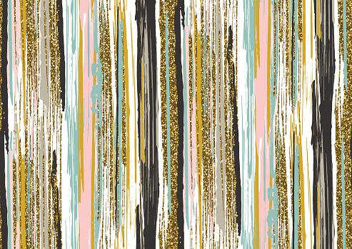 Vetores de Seamless Pattern With Gold Glitter Textured Brush Strokes And Stripes e mais imagens de Abstrato