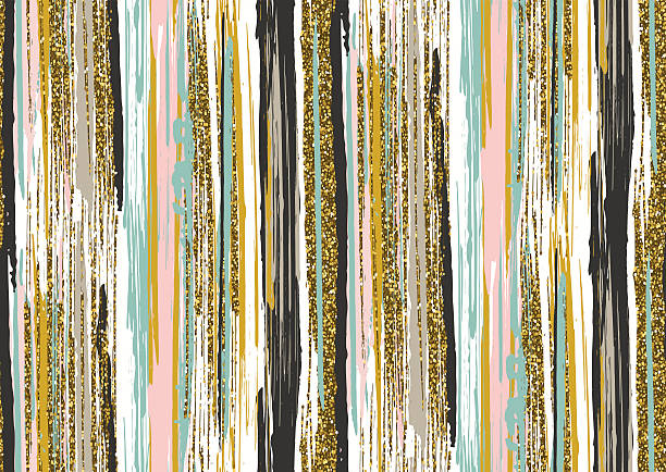 seamless pattern with gold glitter textured brush strokes and stripes - 보헤미아 stock illustrations