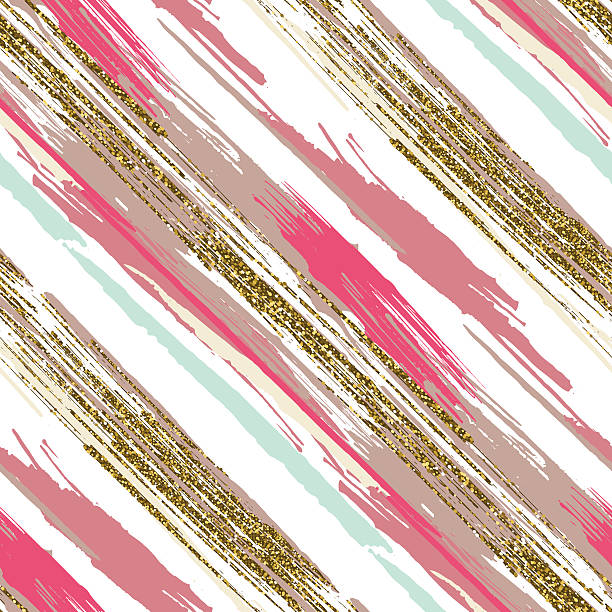 seamless pattern with gold glitter textured brush strokes and stripes - bohemian fashion stock illustrations, clip art, cartoons, & icons