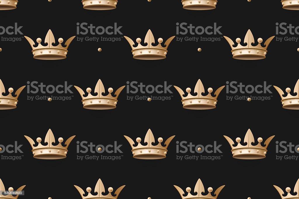 Ilustración de Sin Costura Patrón Oro Con Corona Con Cama Rey En Un ...