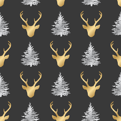Seamless pattern with golden deer heads and silver fir trees