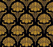 Seamless pattern with golden flowers - Illustration