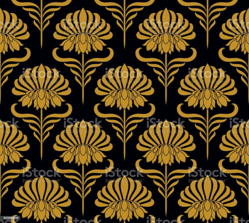 Seamless pattern with golden flowers vector art illustration