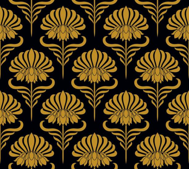 seamless pattern with golden flowers - art nouveau stock illustrations, clip art, cartoons, & icons