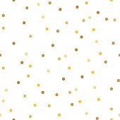 Seamless pattern with golden polka dot on a white background. Vector.