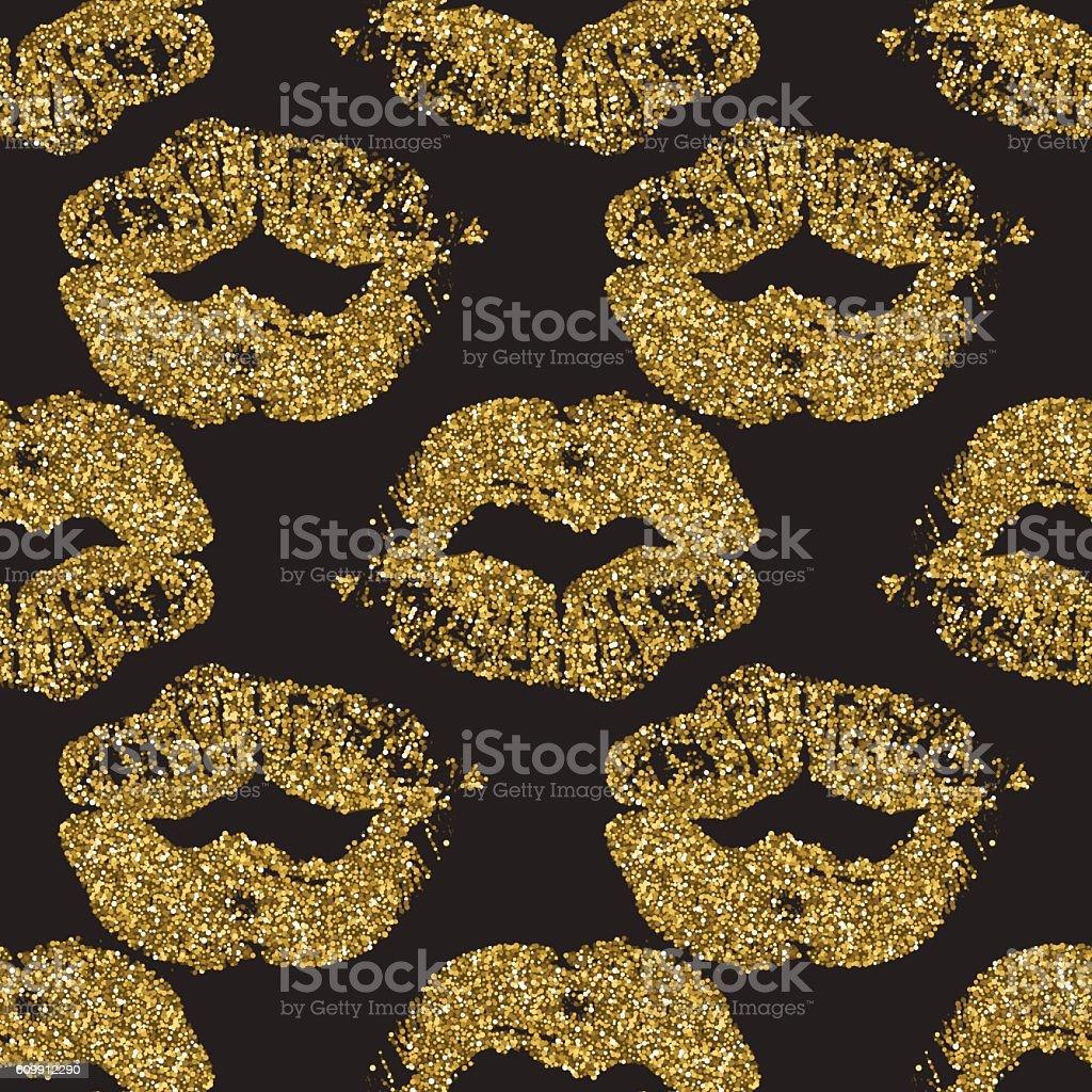 Seamless pattern with goldglitter lips prints - Illustration vectorielle
