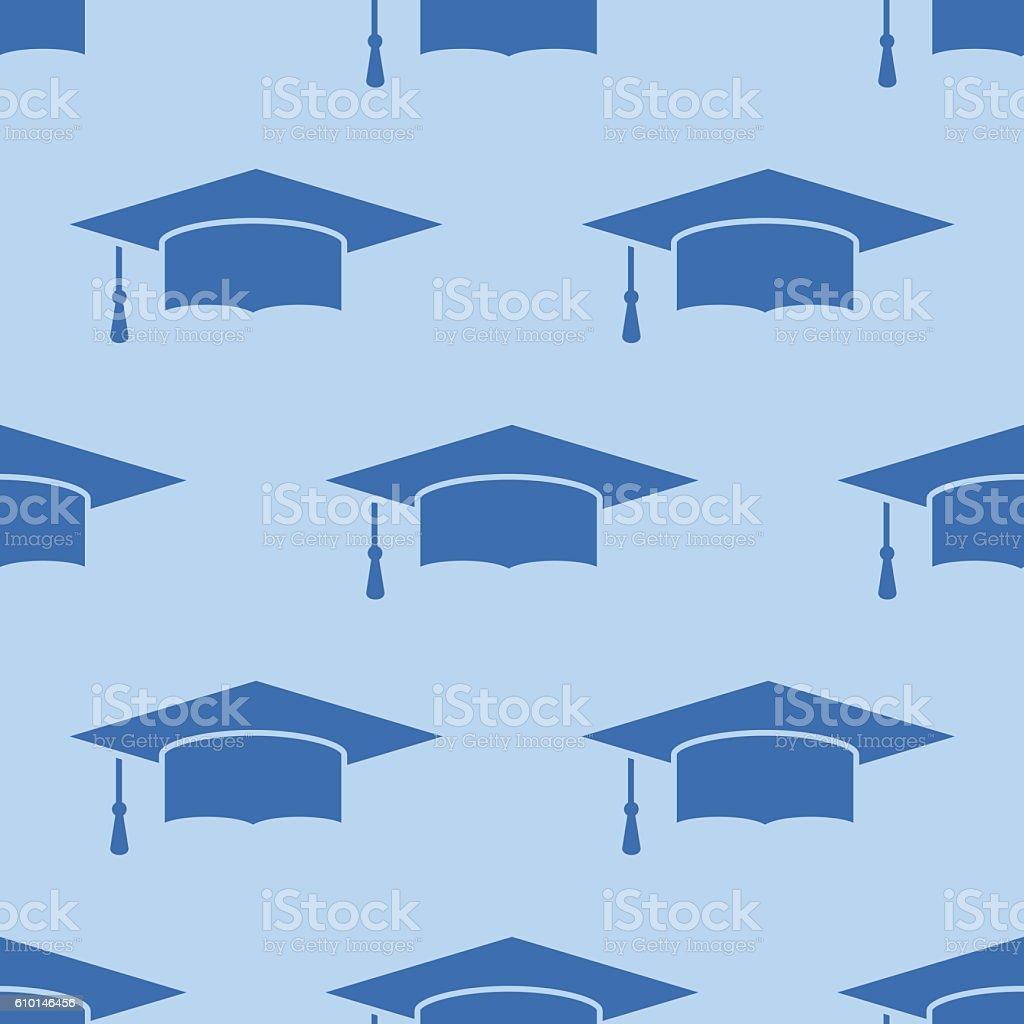 Seamless pattern with graduation cap on blue background - ilustración de arte vectorial