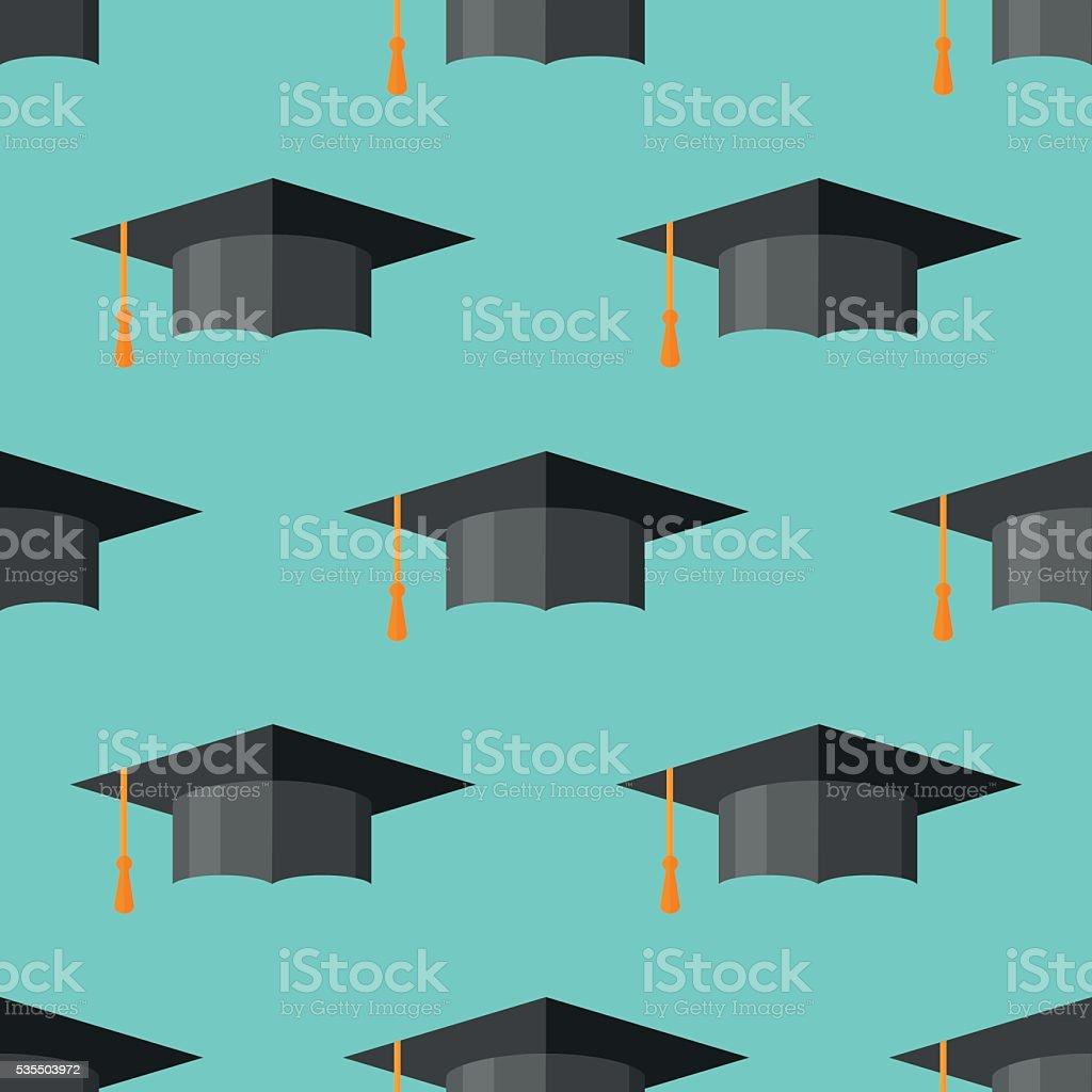 Patrón continuo con tapa de graduación - ilustración de arte vectorial