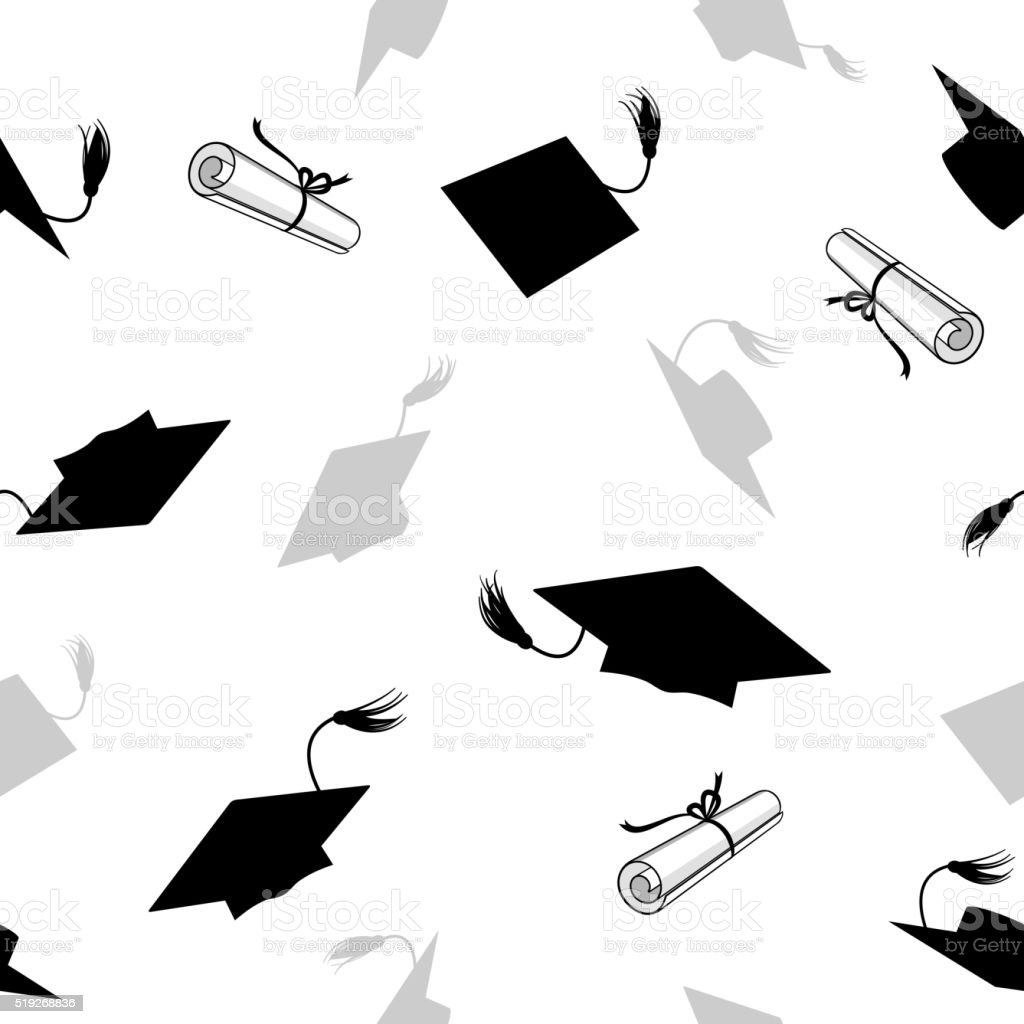 Seamless Pattern with Graduation Caps vector art illustration