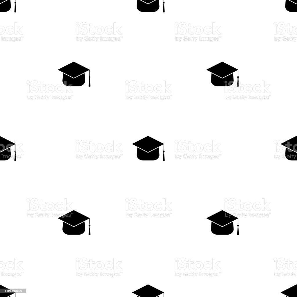 白い背景に卒業帽子とシームレスなパターン卒業教育の概念デザイン