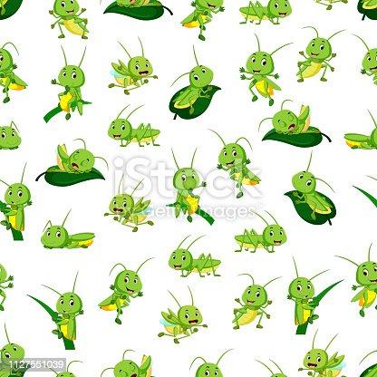 illustration of Seamless pattern with grasshopper cartoon