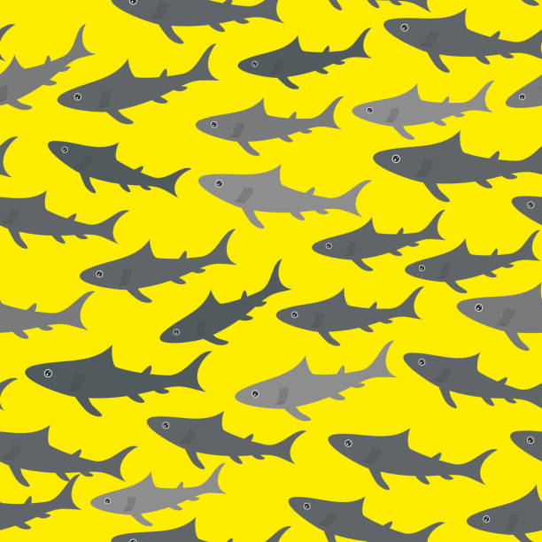 Seamless pattern with gray sharks  on bright yellow background. Vector Seamless pattern with gray sharks  on bright yellow background. Vector illustration greenland shark stock illustrations