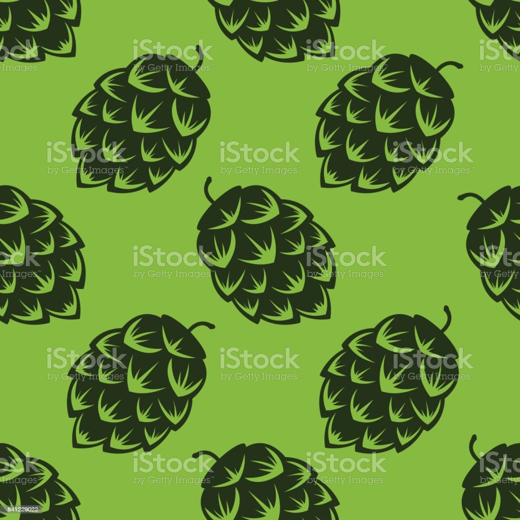Seamless pattern with green beer hops, colorful vector illustration vector art illustration