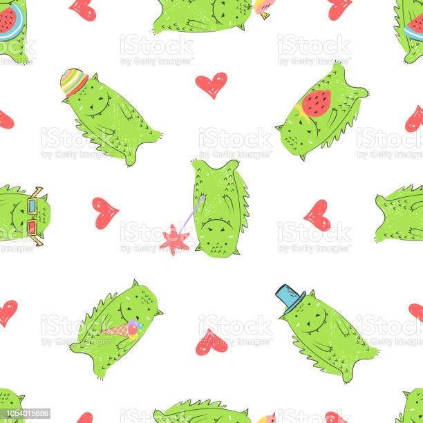 Seamless pattern with green cute dinosaurs for childrens products and vector id1054015886?b=1&k=6&m=1054015886&s=612x612&h=bljub4kxsmclhaq 2gb7ky6agzsh1eayejwizvpwteo=