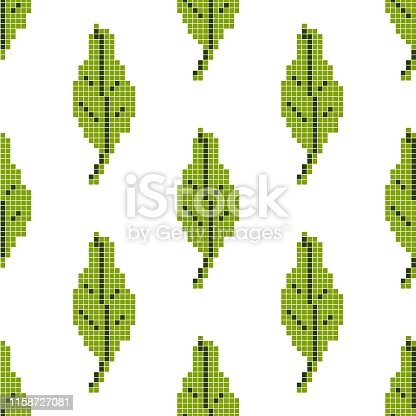 istock Seamless pattern with green leaf on a white background. Pixel art, vector illustration. Retro style game 1158727081