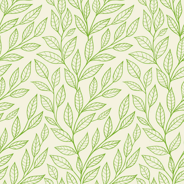 seamless pattern with green leaves Vector seamless pattern with green leaves natural pattern stock illustrations