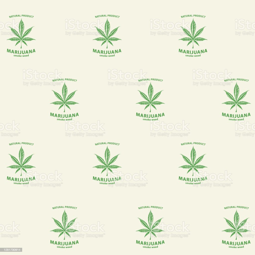 Seamless Pattern With Green Marijuana Labels Stock Illustration Download Image Now Istock