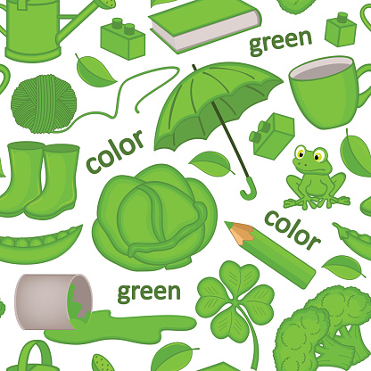 seamless pattern with green objects