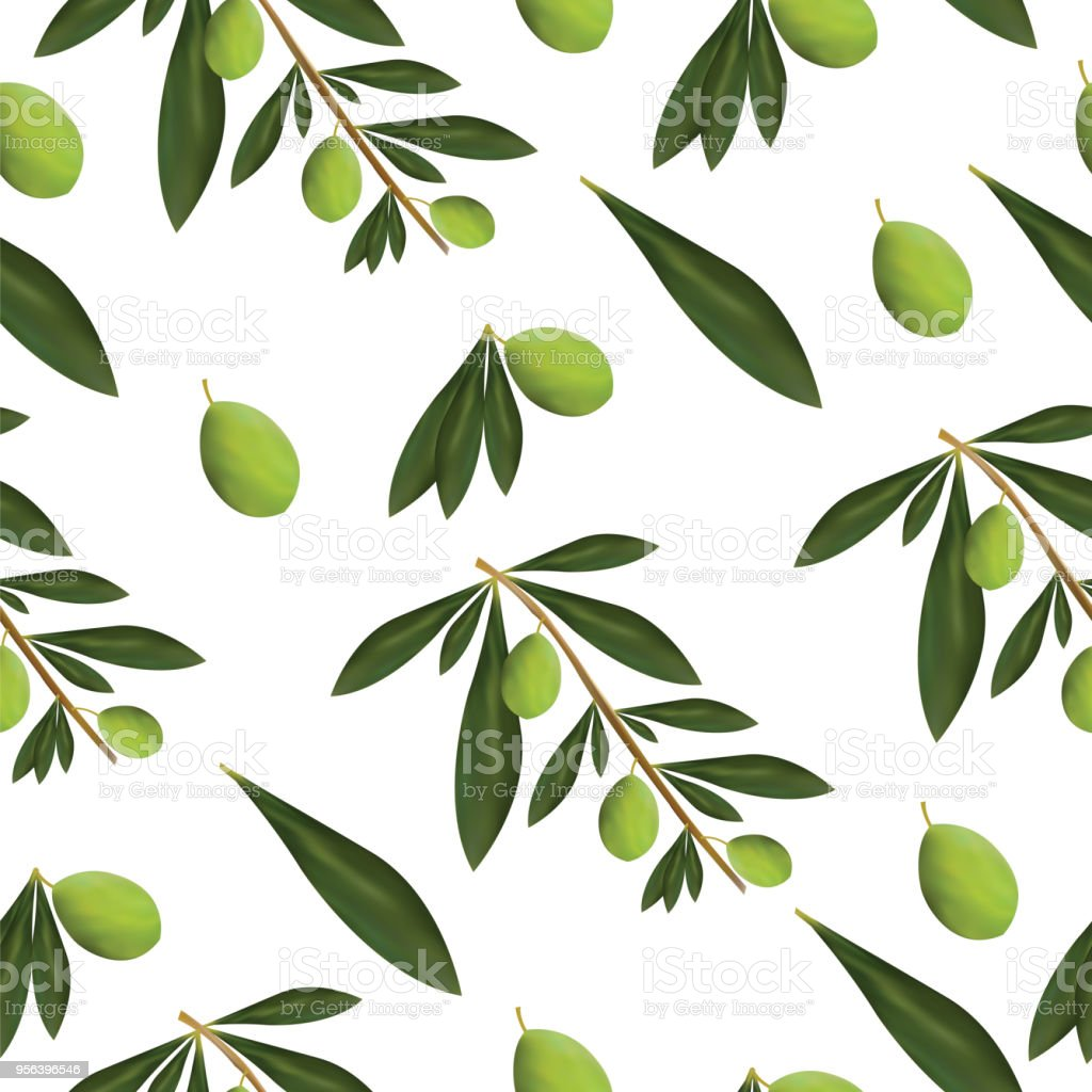 Seamless Pattern With Green Olive Tree Leaves And Olives Stock