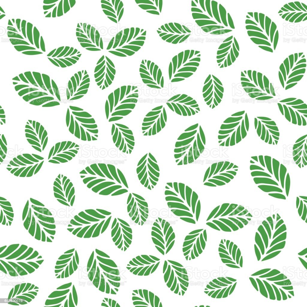 Seamless pattern with greenery leaves vector art illustration