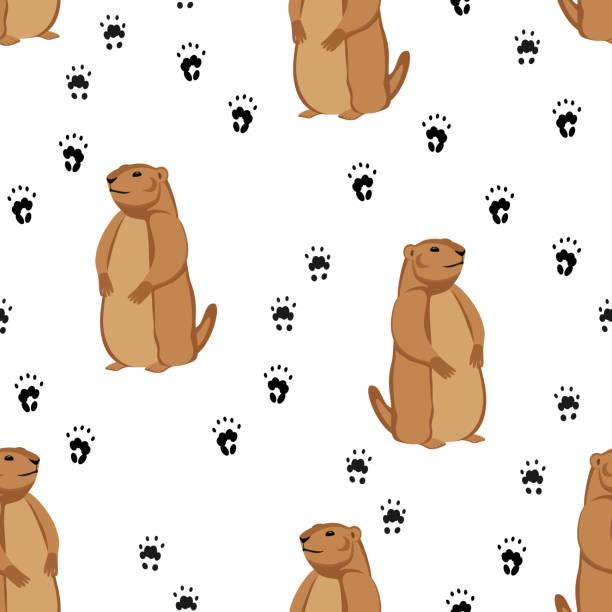 ilustraciones, imágenes clip art, dibujos animados e iconos de stock de patrón sin costuras con la huella de la marmota y del animal - groundhog day