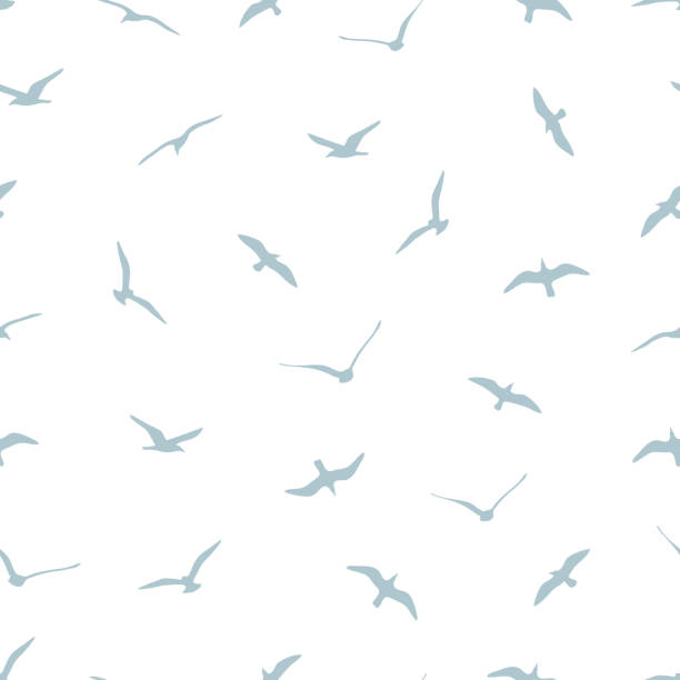 seamless pattern with gulls on white background vector art illustration