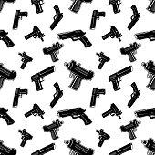 Seamless pattern with guns.