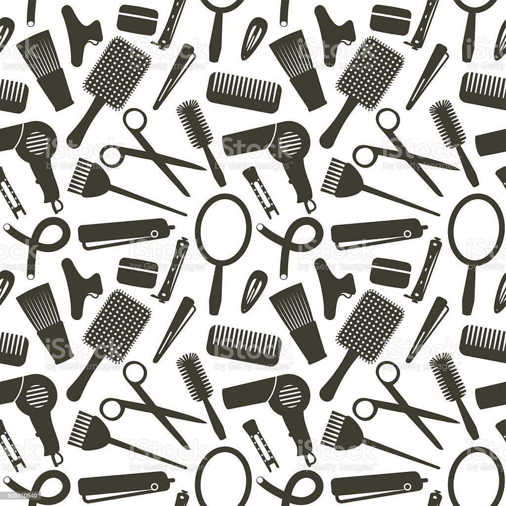 Seamless pattern with hairdressing related symbols vector art illustration