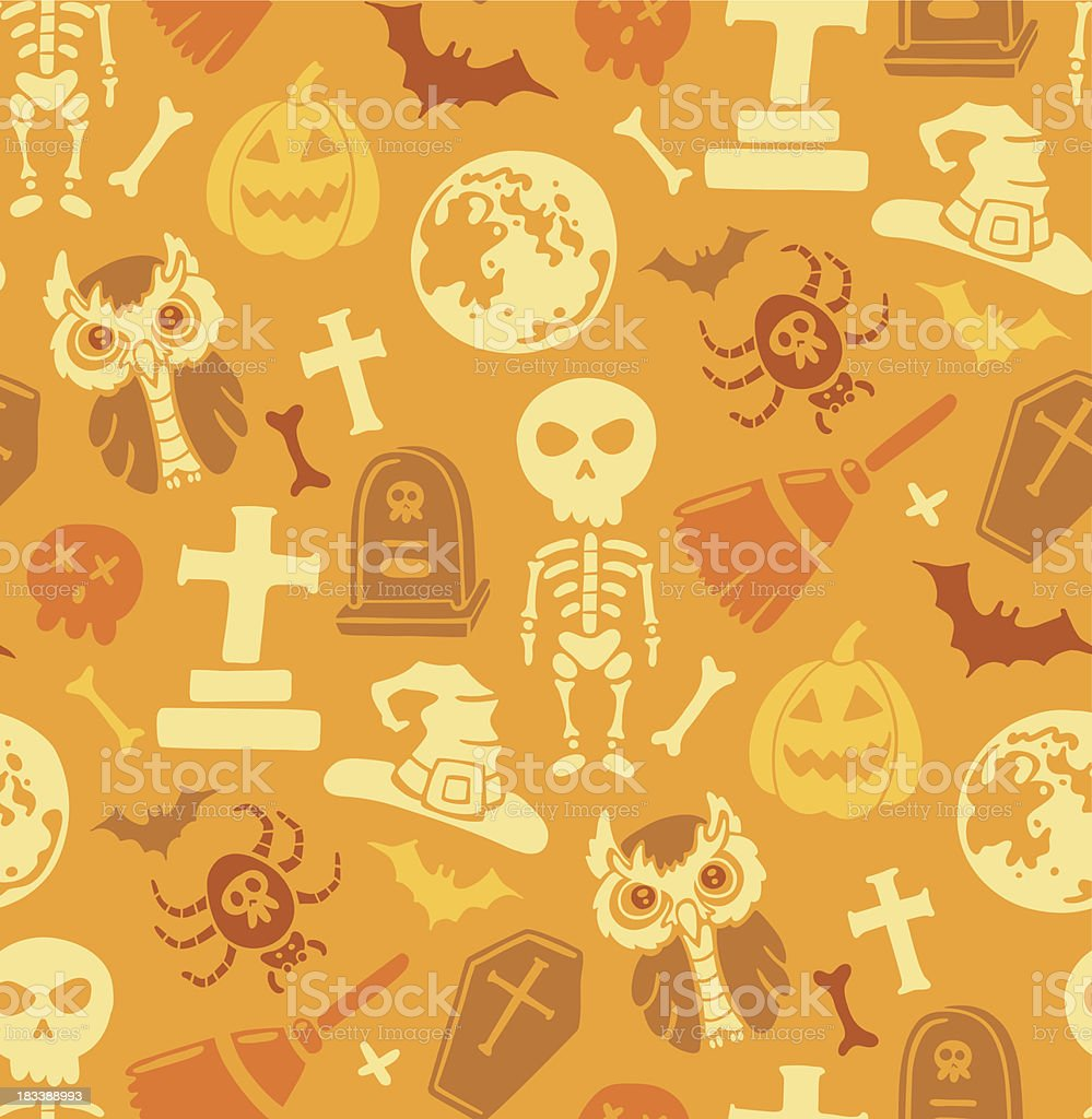Seamless pattern with halloween objects. royalty-free stock vector art